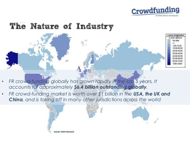 • FR crowd-funding globally has grown rapidly in the last 5 years, It accounts for approximately $6.4 billion outstanding ...