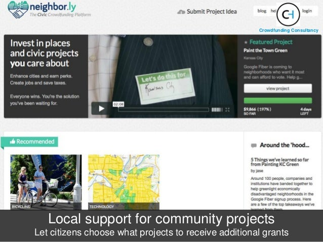 Local support for community projects Let citizens choose what projects to receive additional grants Crowdfunding Consultan...
