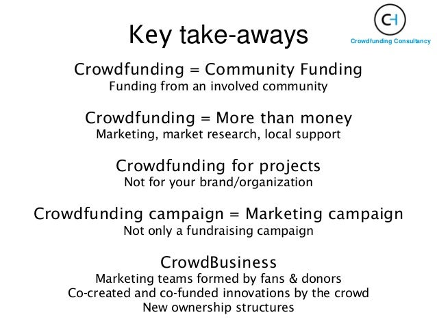 Crowdfunding = Community Funding Funding from an involved community Crowdfunding = More than money Marketing, market resea...