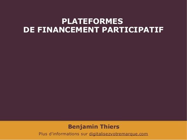Le crowdfunding ou financement participatif for Aide de financement