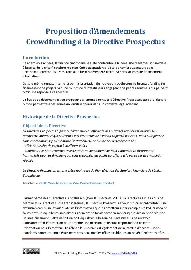Proposition d'Amendements   Crowdfunding à la Directive ProspectusIntroductionCes dernières années, la finance traditionne...