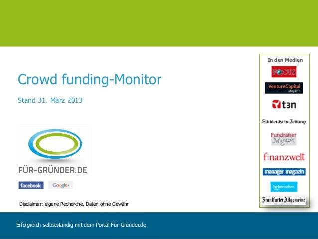 In den MedienCrowd funding-MonitorStand 31. März 2013 Disclaimer: eigene Recherche, Daten ohne GewährErfolgreich selbststä...