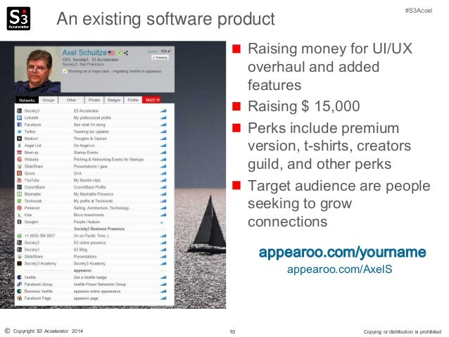 10© Copyright S3 Accelerator 2014 Copying or distribution is prohibited #S3Accel An existing software product Raising mone...