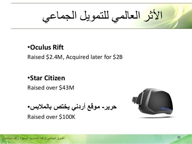22الصغيرة للمشاريع كرافعة الجماعي التمويل-أبوشعبان رأفت الجماعي للتمويل العالمي األثر •Oculus Rift R...