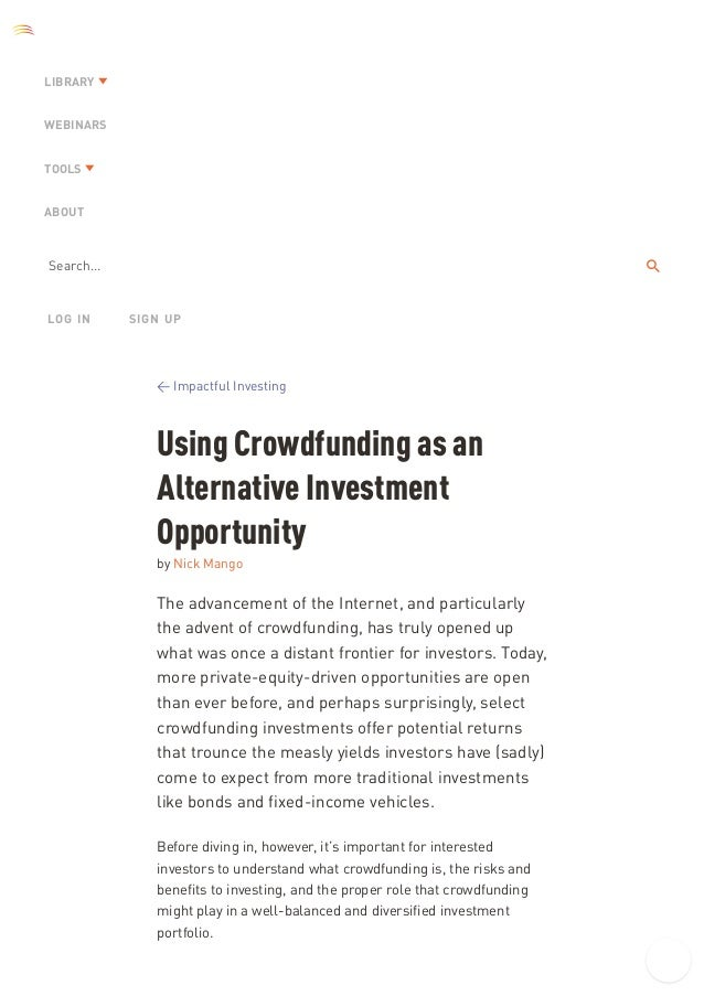 Crowdfunding and it's use as an investment opportunity