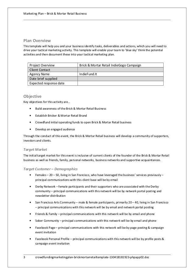 ... 3. Marketing Plan U2013 Brick U0026 Mortar Retail BusinessPlan OverviewThis  Template ...