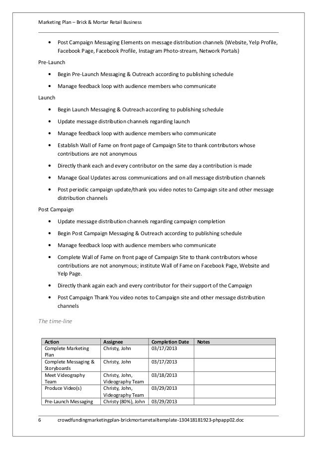 Crowdfunding marketing plan - brick & mortar retail template