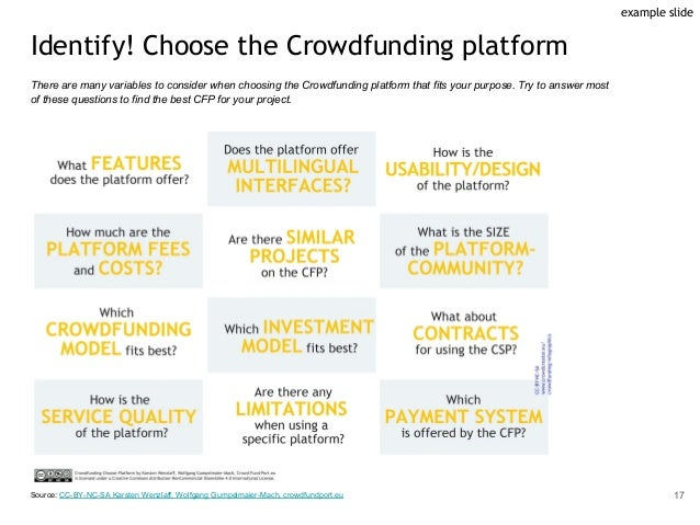 Identify! Choose the Crowdfunding platform There are many variables to consider when choosing the Crowdfunding platform th...