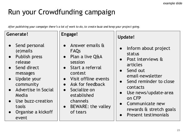 Run your Crowdfunding campaign After publishing your campaign there's a lot of work to do, to create buzz and keep your pr...