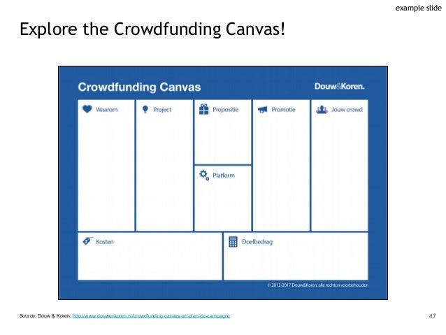 Source: Douw & Koren, http://www.douwenkoren.nl/crowdfunding-canvas-en-plan-de-campagne 47 example slide Explore the Crowd...