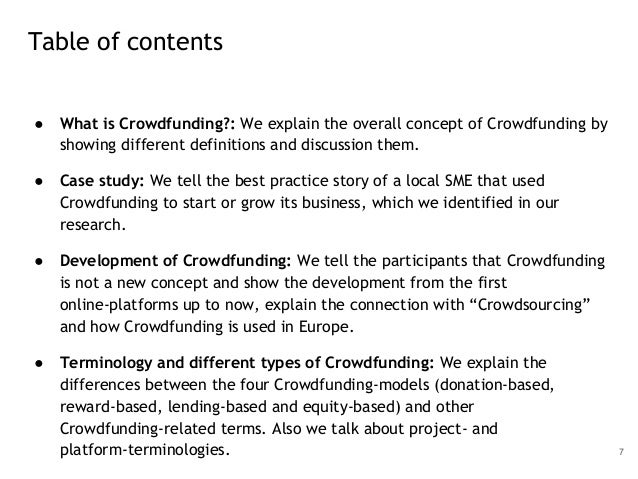 ● What is Crowdfunding?: We explain the overall concept of Crowdfunding by showing different definitions and discussion th...