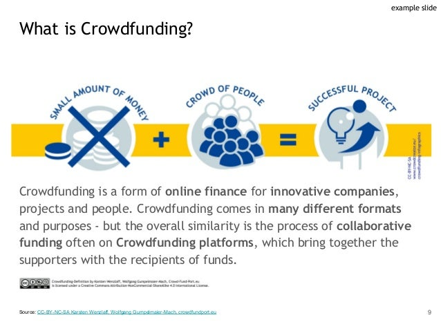 Crowdfunding is a form of online finance for innovative companies, projects and people. Crowdfunding comes in many differe...