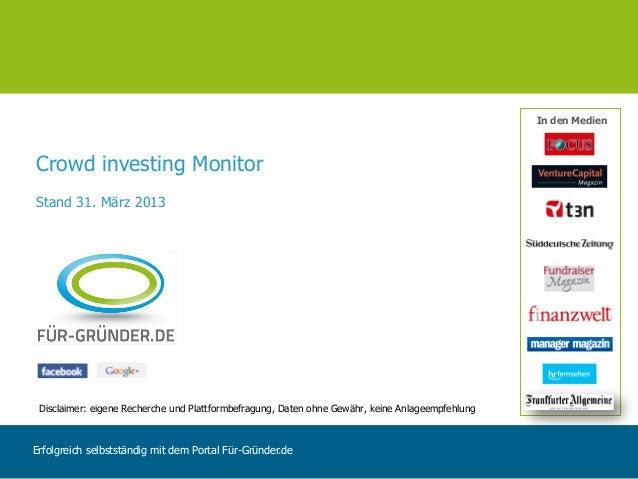 In den MedienCrowd investing MonitorStand 31. März 2013 Disclaimer: eigene Recherche und Plattformbefragung, Daten ohne Ge...