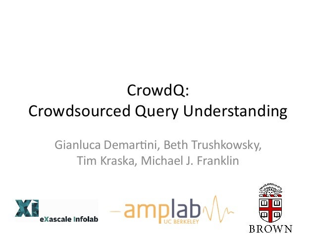 CrowdQ:   Crowdsourced  Query  Understanding     Gianluca  Demar8ni,  Beth  Trushkowsky,   Tim  Kraska...
