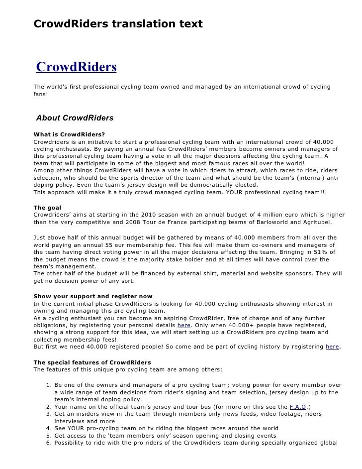 CrowdRiders translation text    CrowdRiders The world's first professional cycling team owned and managed by an internatio...