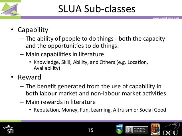 SLUA  Sub-‐classes   www.insight-‐centre.org    • Capability   – The  ability  of  people  to  do  ...