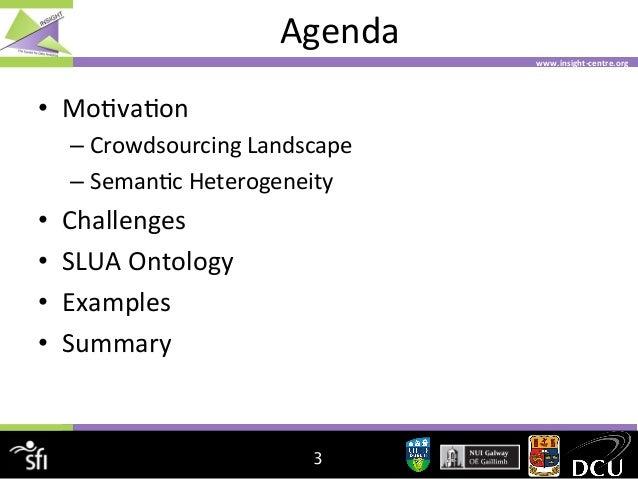 Agenda   www.insight-‐centre.org    • Mo4va4on   – Crowdsourcing  Landscape   – Seman4c  Heterogeneity  ...