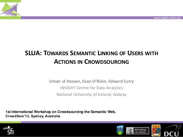 www.insight-centre.org SLUA: TOWARDS SEMANTIC LINKING OF USERS WITH ACTIONS IN CROWDSOURCING Umair ul Hassan, Sean O'Riain...