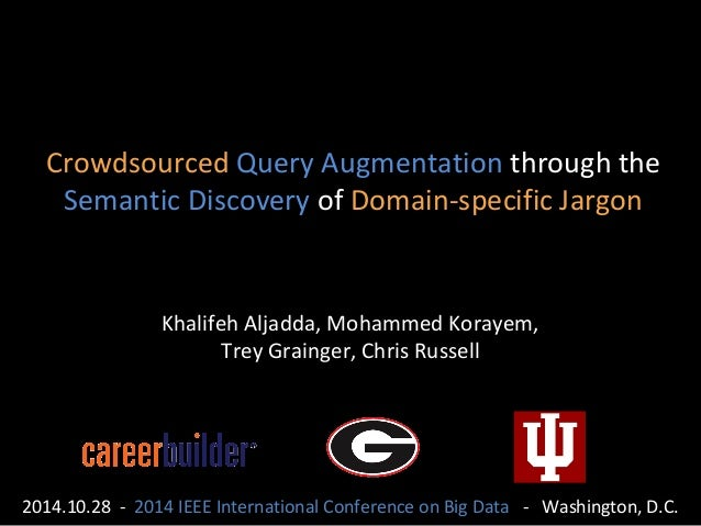 Crowdsourced Query Augmentation through the  Semantic Discovery of Domain-specific Jargon  Khalifeh Aljadda, Mohammed Kora...