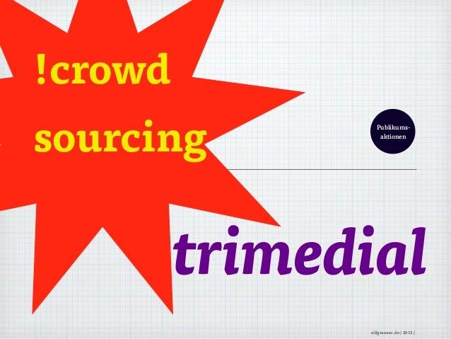 !crowdsourcingtrimedialPublikums-aktionenulfgruener.de | 2013 |