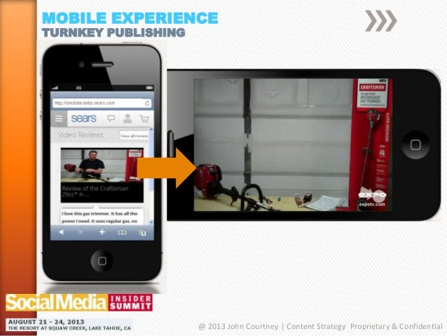 MOBILE EXPERIENCE TURNKEY PUBLISHING @ 2013 John Courtney | Content Strategy Proprietary & Confidential