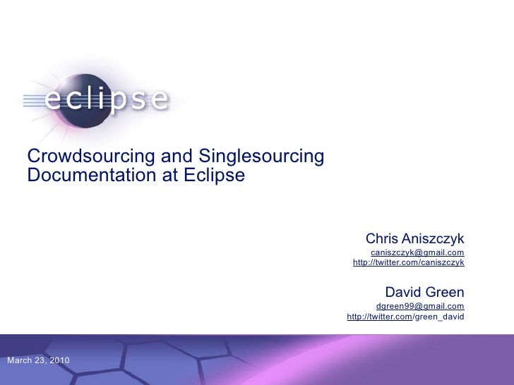 Crowdsourcing and Singlesourcing     Documentation at Eclipse                                                             ...