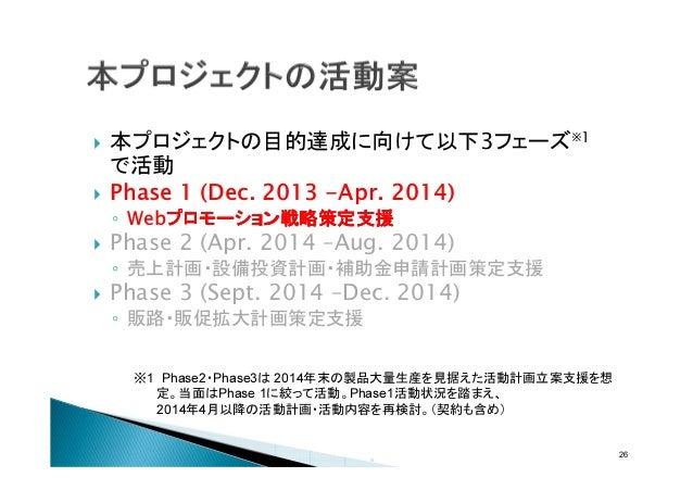 本プロジェクトの目的達成に向けて以下3フェーズ※1 で活動 Phase 1 (Dec. 2013 -Apr. 2014) ◦ Webプロモーション戦略策定支援 プロモーション戦略策定支援 プロモーション戦略  Phase 2 (Apr. 201...