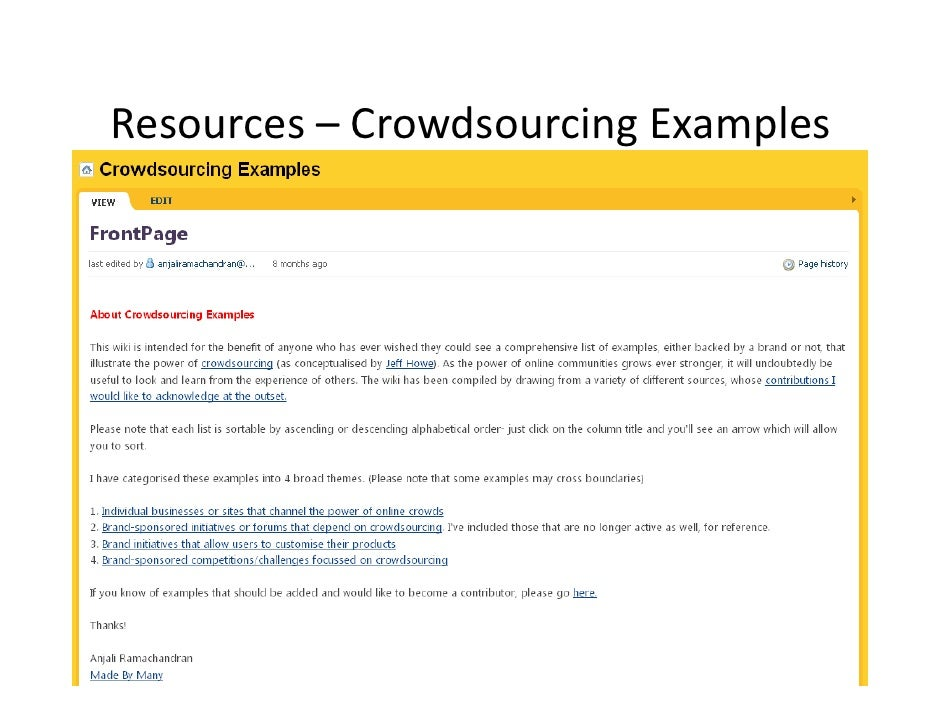 Resources– Crowdsourcing Examples