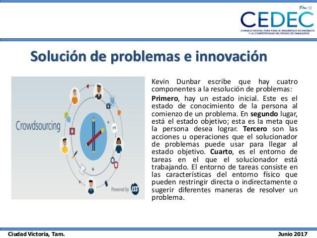 Ciudad Victoria, Tam. Junio 2017 Solución de problemas e innovación Kevin Dunbar escribe que hay cuatro componentes a la r...