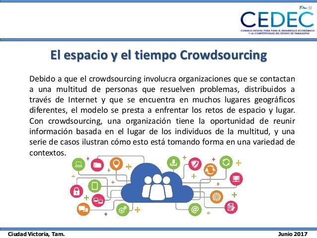 Ciudad Victoria, Tam. Junio 2017 El espacio y el tiempo Crowdsourcing Debido a que el crowdsourcing involucra organizacion...