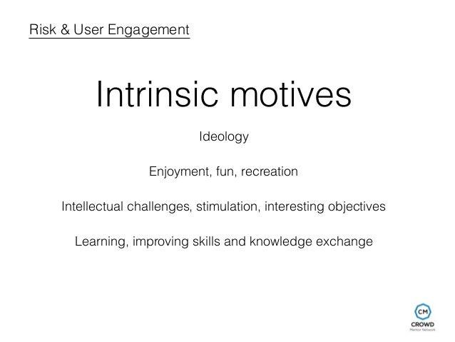 Risk & User Engagement  Intrinsic motives  Ideology  Enjoyment, fun, recreation  Intellectual challenges, stimulation, int...