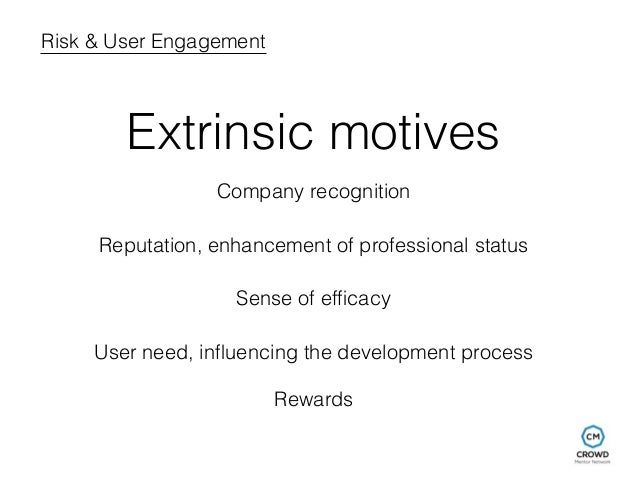 Risk & User Engagement  Extrinsic motives  Company recognition  Reputation, enhancement of professional status  Sense of e...