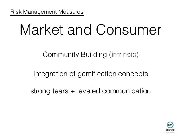 Risk Management Measures  Market and Consumer  Community Building (intrinsic)  Integration of gamification concepts  stron...