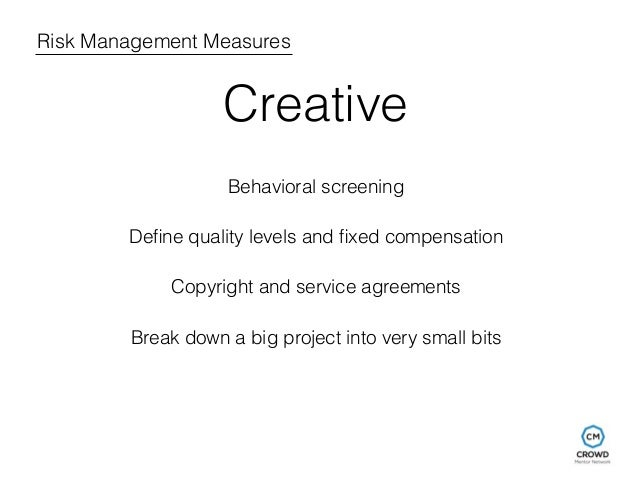 Risk Management Measures  Creative  Behavioral screening  Define quality levels and fixed compensation  Copyright and serv...