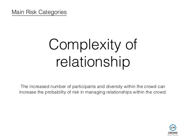 Main Risk Categories  Complexity of  relationship  The increased number of participants and diversity within the crowd can...