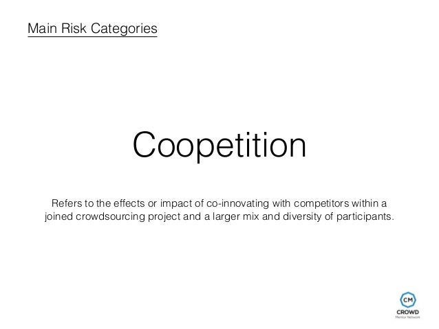 Main Risk Categories  Coopetition  Refers to the effects or impact of co-innovating with competitors within a  joined crow...