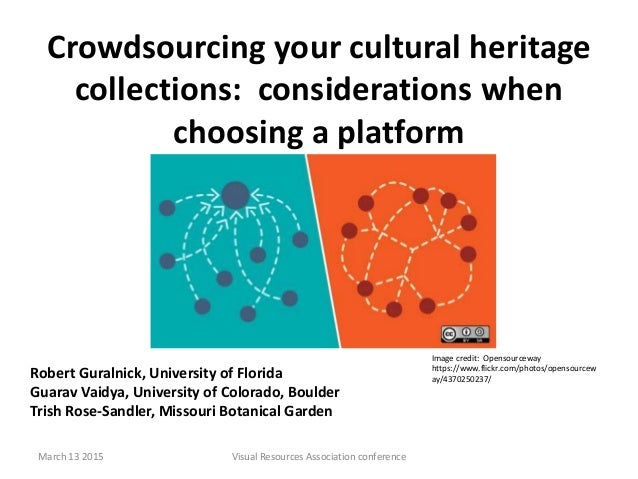 Crowdsourcing your cultural heritage collections: considerations when choosing a platform Robert Guralnick, University of ...