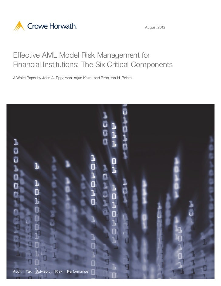 August 2012Effective AML Model Risk Management forFinancial Institutions: The Six Critical ComponentsA White Paper by John...