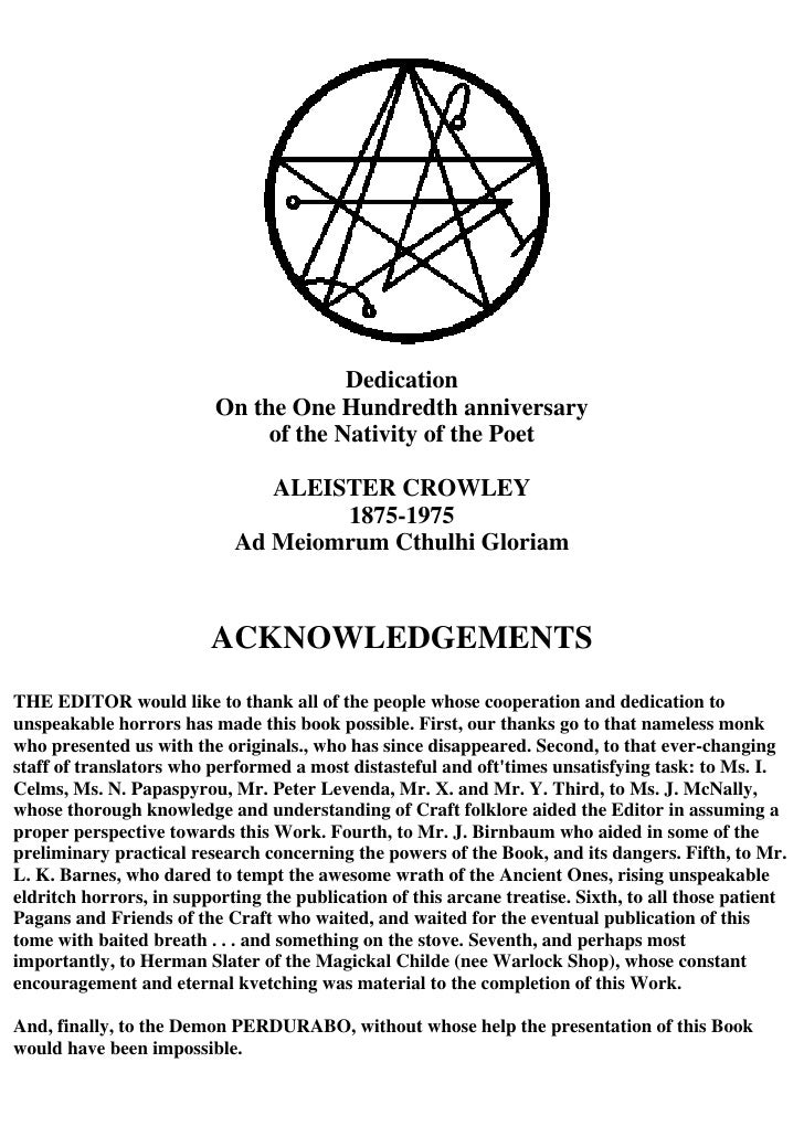 Crowley, Aleister The Necronomicon