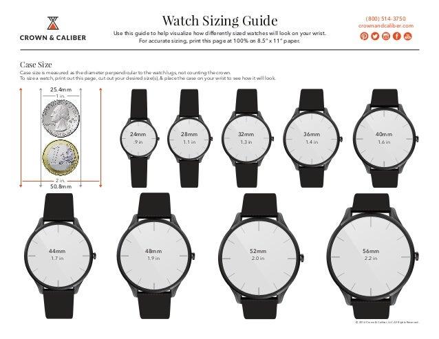Crown & Caliber Luxury Wrist Watch Sizing Guide