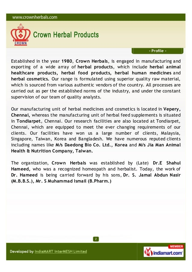Crown Herbal Products, Chennai, Herbal Health Care Products Slide 2