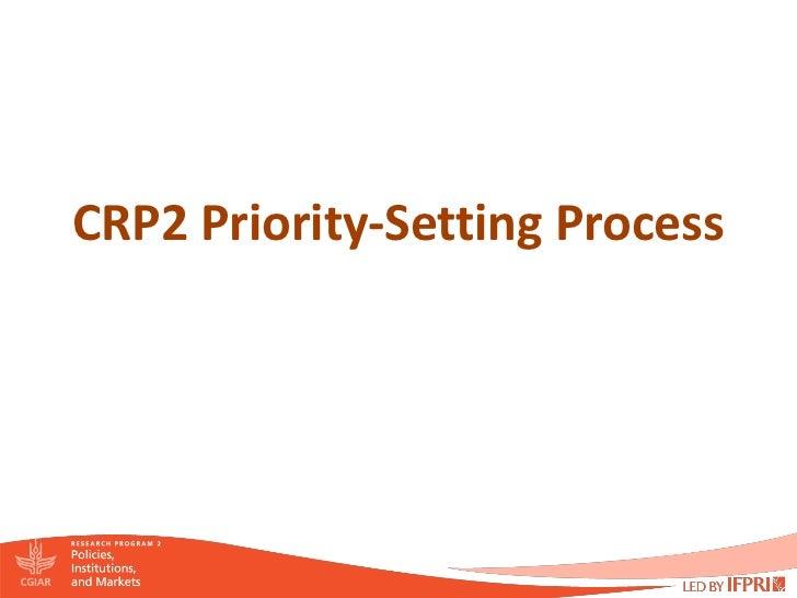 CRP2 Priority-Setting Process