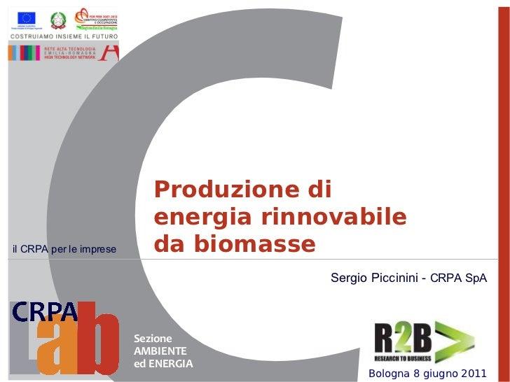 Produzione di                            energia rinnovabileil CRPA per le imprese      da biomasse                       ...