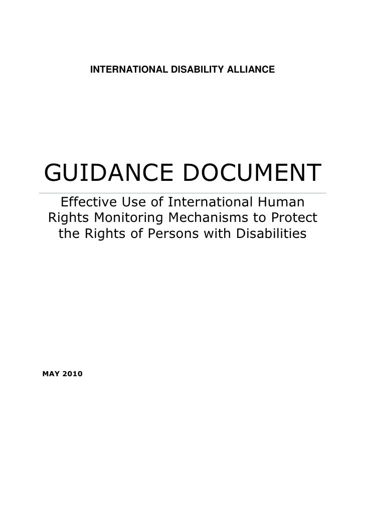 Effective Use of International Human Rights Monitoring Mechanisms to Protect the Rights of Persons with Disabilities