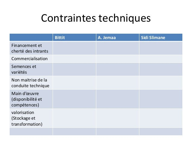 Contraintes techniques  Bittit A. Jemaa Sidi Slimane  Financement et  cherté des intrants  Commercialisation  Semences et ...