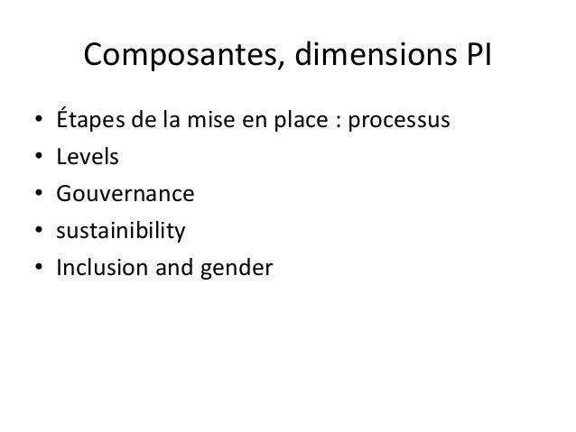 Composantes, dimensions PI  • Étapes de la mise en place : processus  • Levels  • Gouvernance  • sustainibility  • Inclusi...