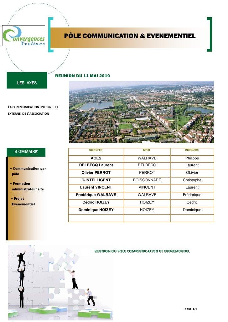 PÔLE COMMUNICATION & EVENEMENTIEL                                  REUNION DU 11 MAI 2010         LES AXES     LACOMMUNIC...