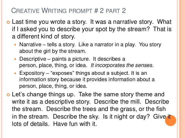 "examples of writing prompts The first section of the document is comprised of ""on demand"" writing this section contains pieces written in response to a uniform text-‐based prompt the second section is made up of ""range of writing"" samples these pieces provide examples of student writing for ""a range of discipline-‐specific tasks, purposes, and."