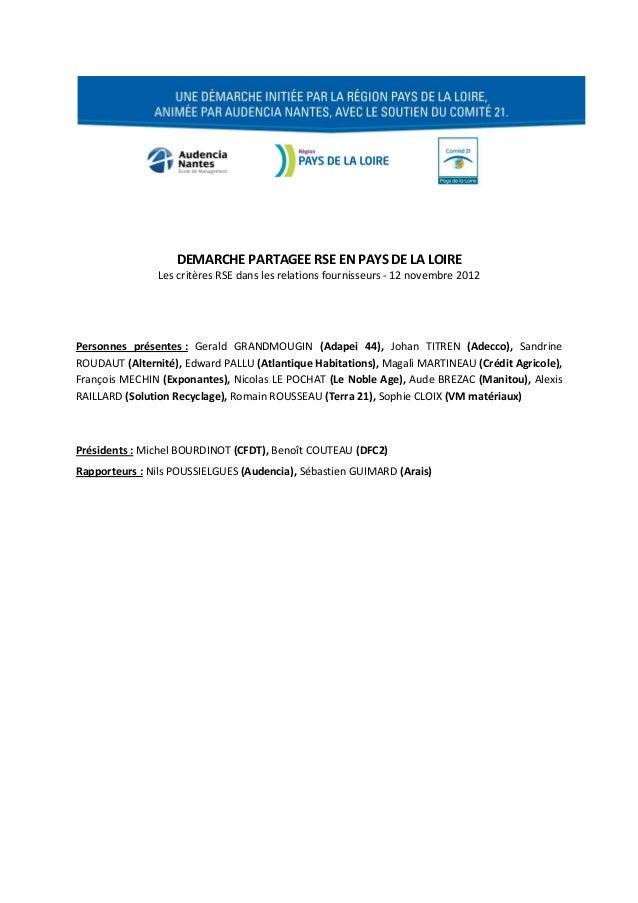 DEMARCHE PARTAGEE RSE EN PAYS DE LA LOIRE                Les critères RSE dans les relations fournisseurs - 12 novembre 20...