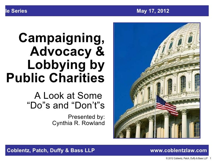 able Series                              May 17, 2012   Campaigning,     Advocacy &     Lobbying by  Public Charities     ...